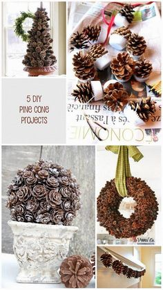 5 Pine Cone DIY projects for your home | Holiday Decorations. Awesome! #crafts #Christmascrafts #pinecones #pineconecrafts