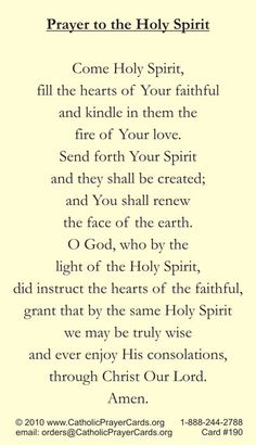 "come holy spirit.. we said this every morning when i was in school...still remember it.. ... but there were 'thees' and ""thous"" then ,,,,still prefer it that way <3"