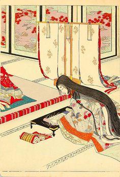 Adachi Ginkou 安達吟光 Lady Murasaki 紫式部 in Heian court - 1890