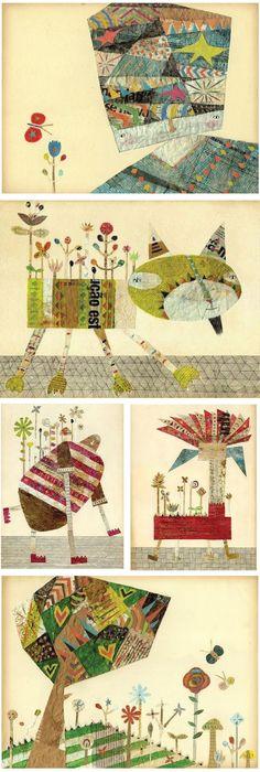 Beautiful collaged illustrations by Keitaro Sugihara