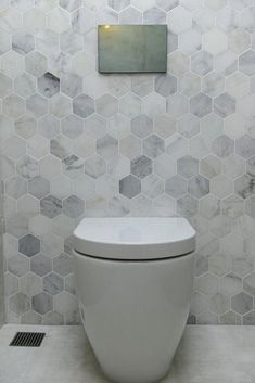 The Block Triple Threat: Wk 4 l Cellar Laundry Powder RoomThese tiles The Block Triple Threat: Week 4 Cellar, Laundry & Powder Room Reveals - STYLE CURATOR bathroomtilesDelight your site visitors with these 30 pretty Hexagon Tile Bathroom, Marble Bathroom Floor, Bathroom Red, Bathroom Flooring, Small Bathroom, Bathroom Layout, Bathroom Feature Wall Tile, Feature Tiles, Marble Bathrooms
