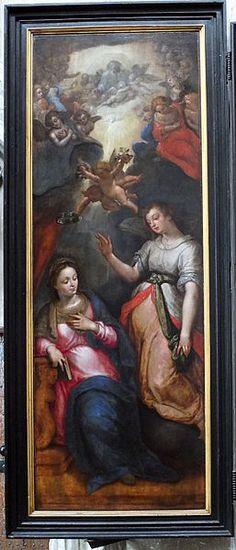 "1605.Jan Snellinck, Christ resurrected with St Peter and St Paul (1605, oil on panel). Side panels ""The Annunciation (right) and Nativity, surrounded by angels with tools of torture (left)Museum van d eSt-Romboutskathedraal, Mechelen."