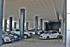 Sunshine Ford Service covered car park, Gold Coast – Birchall & Partners Architects. Architects Ipswich | Architects Brisbane | Architects Gold Coast Brisbane Architects, Architectural Columns, Car Covers, Gold Coast, Car Parking, Showroom, Sunshine, Ford, Lounge