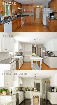 Beautiful Kitchen Paint Colors Ideas with Oak Cabinet - Page 13 of 37 How to Paint Oak Cabinets and Hide the Grain Modern Kitchen Cabinets For Small Spaces White Painted Kitchen Before, After, & 18 Months Later by Paint Cabinets White, Painting Cabinets, How To Paint Kitchen Cabinets White, Kitchen Cabinetry, Update Kitchen Cabinets, Oak Cabinet Makeover Kitchen, Floors Kitchen, Refinished Kitchen Cabinets, Kitchen Cabinets Painted Before And After
