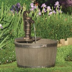 Amazon.com: Little Giant 566740 Whiskey Barrel Classical Fountain, Weather Wood: Patio, Lawn & Garden