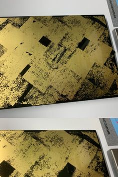 Gold leaf over black with gloss clear coat Retail Interior Design, Painting Techniques, Gold Leaf, Leaves, Coat, Black, Paint Techniques, Sewing Coat, Black People