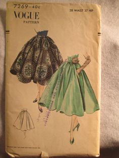 1950 Vogue Fashion PATTERN Circle Skirt by Jellajeans on Etsy, $19.00