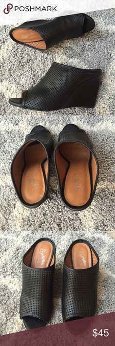 """NWOT Seychelles Perfect Match black leather mules New without tags Seychelles Perfect Match black perforated leather mules. Leather upper with rubber sole, wedge measures approx. 3.5"""". Size 8 and run small in my opinion. In excellent new condition with no flaws. Seychelles Shoes Mules & Clogs"""