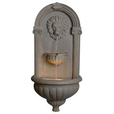 Features: -Durable construction. -Grey finish. -Cord cover included: Yes. Finish: -Grey. Number of Items Included: -12. Style: -Traditional. Fountain Design: -Tiered. Fountain Function: -Wall.