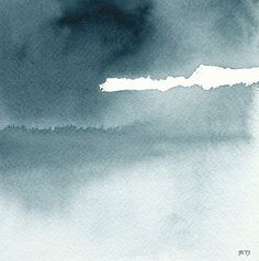 "Quiet Day - Landscape Painting - Reproduction of Watercolor, Indigo Blue, 4"" x 4"" or 8"" X 8"""