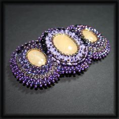 Bead embroidered barrette  my sweet violet by JirikiDesigns, €50.00