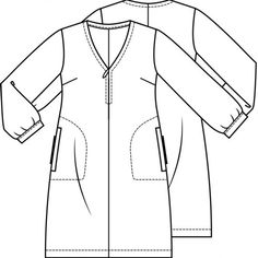 Jurk (Post patroon)-788255 Technical Drawing, Couture, Wetsuit, Duster Coat, Sewing Patterns, Swimwear, Jackets, Clothes, Learning
