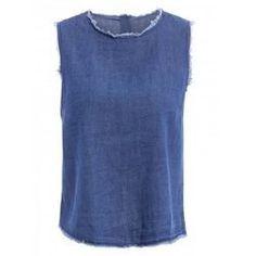 7.25$  Watch now - http://vizqd.justgood.pw/vig/item.php?t=dzmn7q45617 - Stylish Round Neck Sleeveless Frayed Denim Crop Top For Women 7.25$