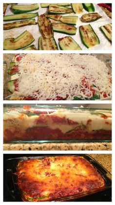 "Zuchinni Lasagna  Need: 1 lb 93% lean beef; 3 cloves garlic; 1/2 onion; 1 tsp olive oil; salt and pepper; 28 oz can crushed tomatoes; 2 tbsp chopped fresh basil; 3 med zucchini, sliced 1/8"" thick; 15 oz part-skim ricotta; 16 oz part-skin mozzarella cheese, shredded; 1/4 C Parmigiano Reggiano; 1 large egg."