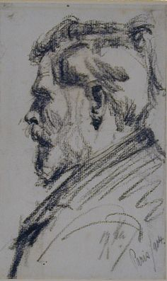 Anonymous, French (20th Century), Head of a Man in profile to left (Click for larger version of this image)