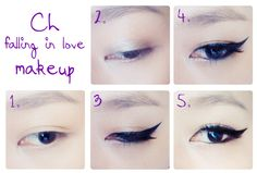 A simple step to do CL falling in love makeup :) eye-shadow  -------> eyeliner --------> undereyeliner --------> highlight