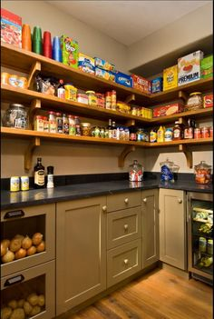 walk in pantry counter with base cabinets and shelves above pantry ideaskitchen