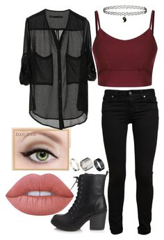 """""""Untitled #194"""" by morganiley ❤ liked on Polyvore featuring Forever 21, Paige Denim, Lime Crime, Topshop and Just Acces"""