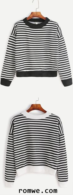 Black Striped Dropped Shoulder Seam Sweatshirt