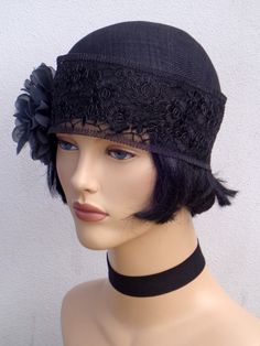 Chapeau cocktail sisal noir et broche série 1, inspiration rétro, art déco, années 20, chapeau mariage, chapeau