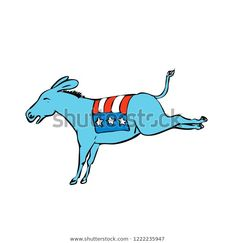Drawing sketch style illustration of a donkey or jackass mascot with American USA stars and stripes flag on back kicking on isolated white background. Drawing Sketches, Drawings, Donkey Drawing, Moose Art, Royalty Free Stock Photos, Editorial, Flag, Stripes, Illustrations