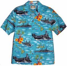 US Battleships - Mens Hawaiian Aloha Shirt - Turquoise, Men's Planes, Trains & Auto Shirts, 250-CRK577-Turq - Paradise Clothing Company