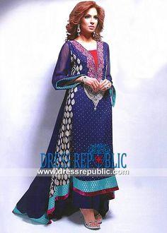 Blue Berry Sleeveless Long Shirt from Party Salwar Kameez UK 2013 2014