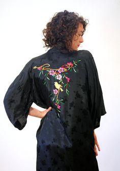 80s Kimono Chinese Songbird Robe Black Rayon by MorningGlorious