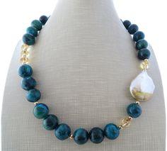 Chrysocolla necklace, green beaded necklace, yellow citrine choker, baroque pearl necklace, uk stone jewelry, italian jewellery, gioielli by Sofiasbijoux on Etsy