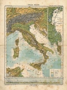 1909 Italy Antique Colorful Physical Map to Frame