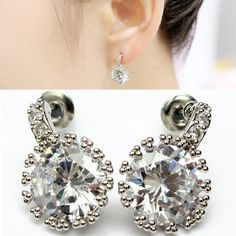Sale 22% (3.58$) - Silver Plated Round Clear Crystal Zircon Earrings For Women