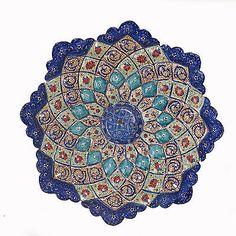 Persian Mina Kari Art Handmde Embossed Copper Enamel Wall Hanging Plate | eBay
