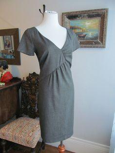 BENETTON Black/White Weave Rayon Blend Short Sleeve Sheath Dress Size M #Benetton #Sheath #WeartoWork