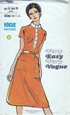 70s Very Easy Very Vogue sewing patterns 7991, dress sewing pattern, bust 36 inches, semi fitted A-line dress