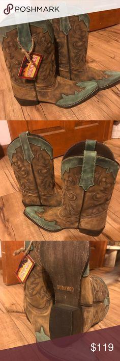 NWT Durango Western boots, Teal & Brown NWT Durango Western Style boots, size 7. Teal and Brown,distressed Durango Shoes Heeled Boots