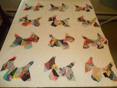 Scotty Scottie Dog Dogs Crazy Quilt Blocks Machine Sewed Large   eBay