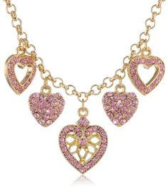 """Heart Of Hearts"" Gold-Tone and Rose Pink Heart Charm Necklace"