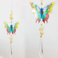 Butterfly Suncatcher - BFSC034 - Crystal Suncatchers, Stick on Stained Glass, Leadlight Adhesive Overlay - Just Like Leadlight