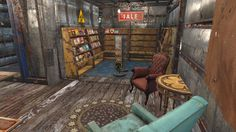 Decorating interior as a read-shop. Note the sale sign. I believe there also is a books sign. Also chairs give a nice reading-room tough. Fallout 4 Guide, Fallout Four, Fallout 4 Mods, Xbox One Mods, Free Funny Videos, Post Apocalyptic Series, Fallout Comics, Fallout 4 Settlement Ideas, Base Building