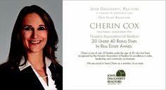 Cherin Cox receives 20 Under 40 Rising Star in Real Estate Award from Houston Association of Realtors