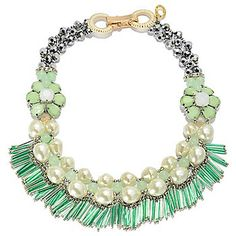 """RUSH 18"""" Jade, Crystal, Glass & Simulated Pearl Beaded Fringe Necklace"""