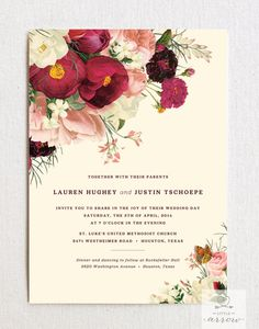 Botanist Study Wedding Invitation & RSVP Card Set (with envelopes) #invitations #wedding #floral #bouquet