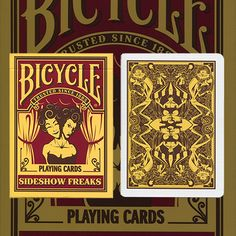 Bicycle Sideshow Freaks by USPCC - Introducing the Sideshow Freaks Deck! This beautiful deck features classic sideshow characters like contortionists, fire-breathers, the bearded lady, and more, with several hidden gems in the intricate back design. These double ended back and face cards will be a great addition to your next card night. Made in the USA at The United States ... get it here: http://www.wizardhq.com/servlet/the-15613/bicycle-sideshow-freaks-by-uspcc/Detail?source=pintrest