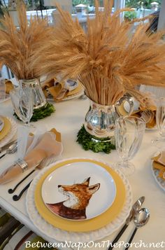 Dapper-Dressed Animals Gather For A Whimsical Table Setting!!! Bebe'!!! Wheat Centerpiece!!!