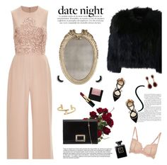 """""""date night jumpsuit"""" by jesuisunlapin ❤ liked on Polyvore featuring Nearly Natural, La Perla, Elie Saab, H Brand, Francesco Russo, Roger Vivier, Bobbi Brown Cosmetics, Bliss Studio, Effy Jewelry and Chanel"""