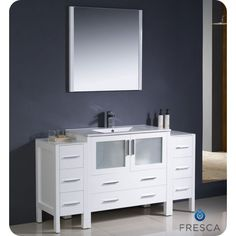 Buy the Fresca White Direct. Shop for the Fresca White Torino Free Standing Single Vanity Set with Engineered Wood Cabinet, Ceramic Vanity Top, Framed Mirror and Single Hole Faucet and save. Engineered Wood, Vanity Set With Mirror, Bathroom Sink Faucets Single Hole, Single Sink Bathroom Vanity, Modern Bathroom, Modern Bathroom Vanity, Side Cabinet, Wood Cabinets, Vanity Set