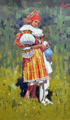 Folk Costume, Costumes, European Countries, Romanticism, Czech Republic, Art Google, Folk Art, Postcards, Oil