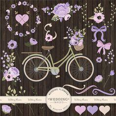 Premium Wedding Clipart & Vectors Lavender Bicycle por AmandaIlkov