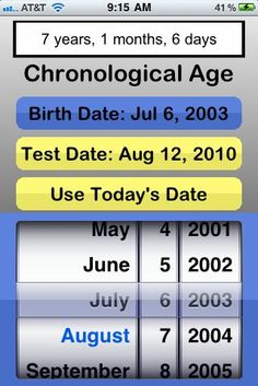 Chronological Age Calculator - Pinned by SOS Inc. Resources http://pinterest.com/sostherapy.