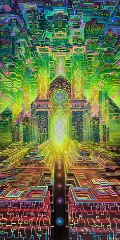Jonathan Solter is a visionary artist specializing in higher dimensional travel, ancient civilizations and animism. His beautifully depicted scenes hold resonance with psychonauts and transcendental meditators alike. Monte Fuji Japon, Psychadelic Art, Acid Art, Psy Art, Visionary Art, Fractal Art, Oeuvre D'art, Sacred Geometry, Trippy